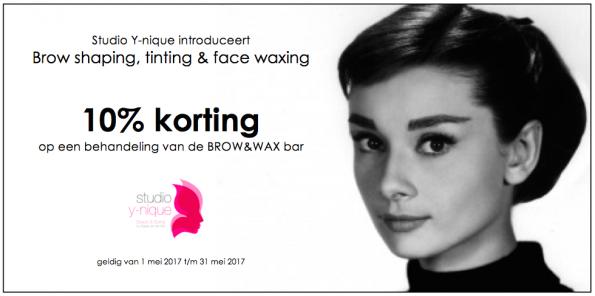 10% korting op een behandeling van de BROW&WAX bar