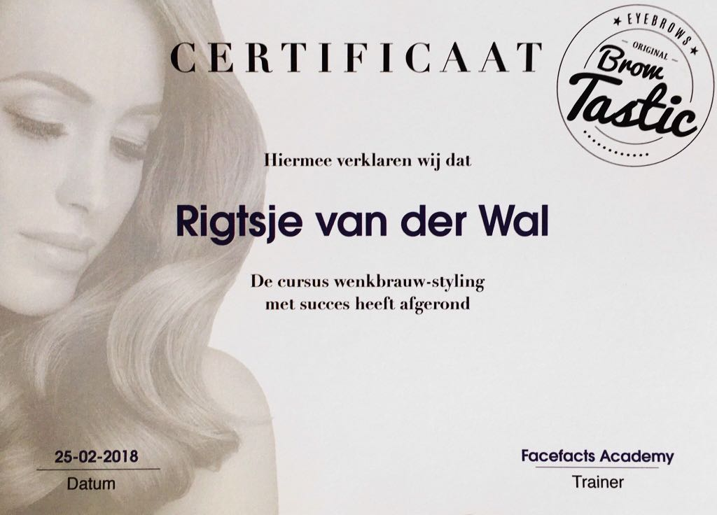Studio Y-nique | Henna Brows certificaat | Browtastic