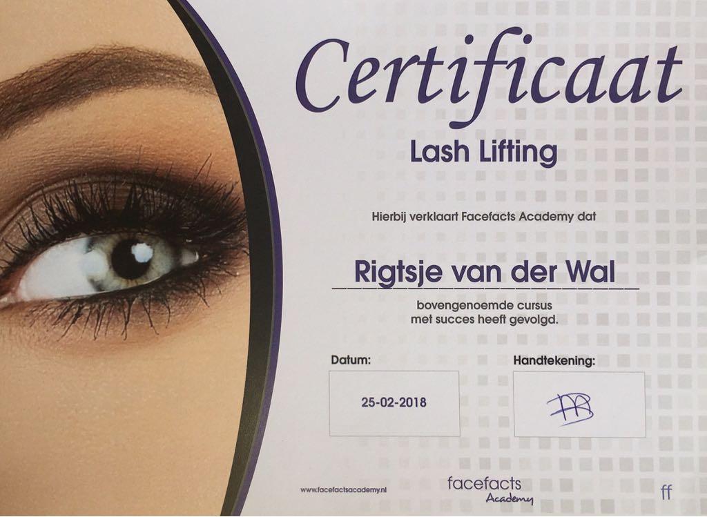 Studio Y-nique | Lash Lifting certificaat | FacefactsAcademy | LashBomb