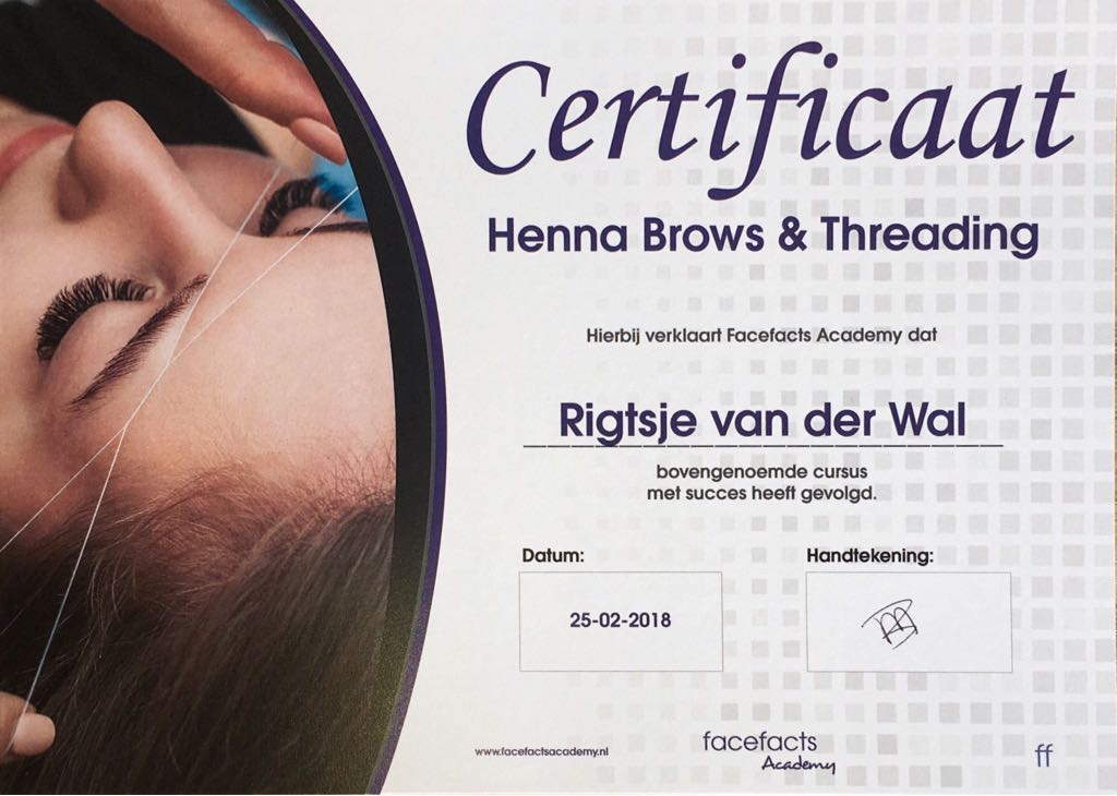 Studio Y-nique | Henna Brows & Treading certificaat | FacefactsAcademy & Browtastic